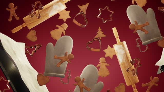 vídeos de stock e filmes b-roll de looping christmas baking background - christmas cooking