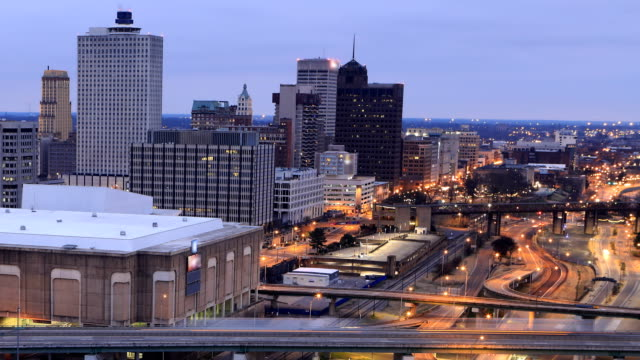 Looping day to night timelapse of Memphis, United States video