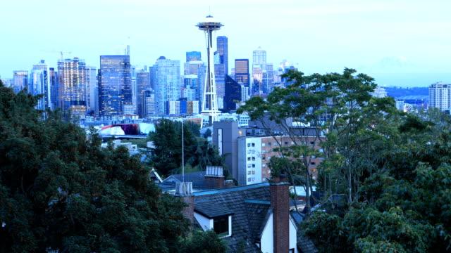 Looping dag tot nacht timelapse van Seattle, Washington, Verenigde Staten video