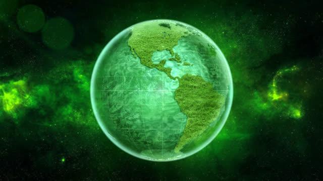 vídeos de stock e filmes b-roll de 4k looping green earth, built using a grass material - green world