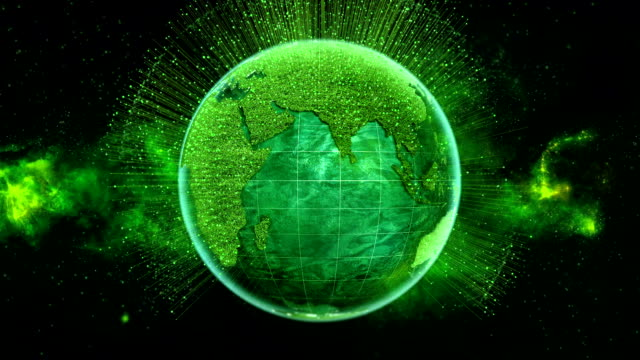 Looping Green Earth with Generic Country Data Points video