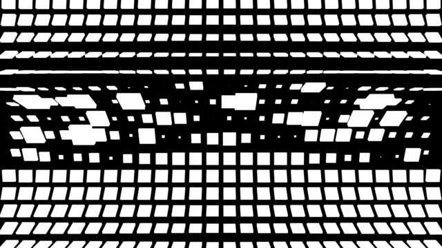 Looping grid of randomized black and white square lines folding and rotating video