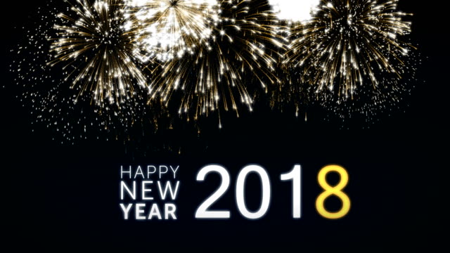 Looping happy new year 2018 social post card with gold animated fireworks on elegant black and blue background.Loop Celebration concept. Loopable animation for festive holiday event video
