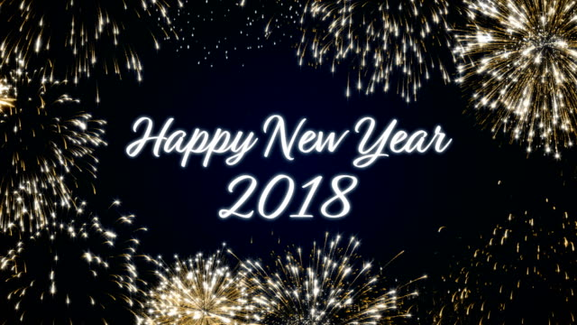Looping happy new year 2018 social post card with gold animated fireworks on elegant black and blue background.Loop Celebration english language concept. Loopable animation for festive holiday event video