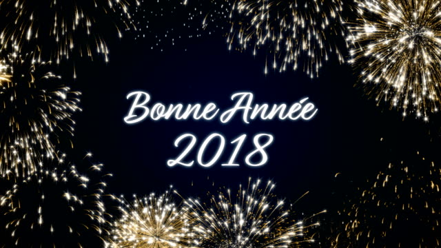 Looping happy new year 2018 social post card with gold animated fireworks on elegant black and blue background.Loop Celebration french language concept. Loopable animation for festive holiday event video