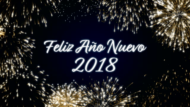 Looping happy new year 2018 social post card with gold animated fireworks on elegant black and blue background.Loop Celebration spanish language concept. Loopable animation for festive holiday event video
