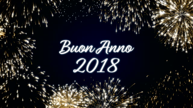 Looping happy new year 2018 social post card with gold animated fireworks on elegant black and blue background.Loop Celebration italian language concept. Loopable animation for festive holiday event video