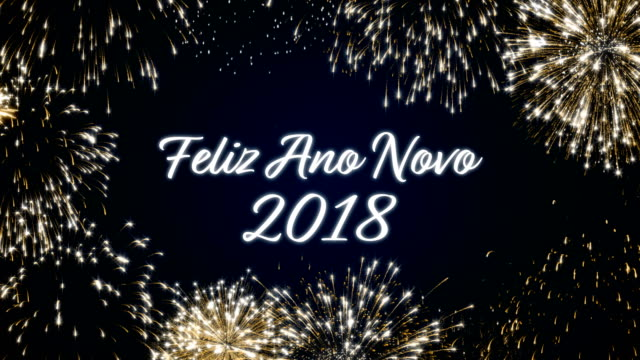 Looping happy new year 2018 social post card with gold animated fireworks on elegant black and blue background.Loop Celebration portuguese language concept.Loopable animation for festive holiday event video