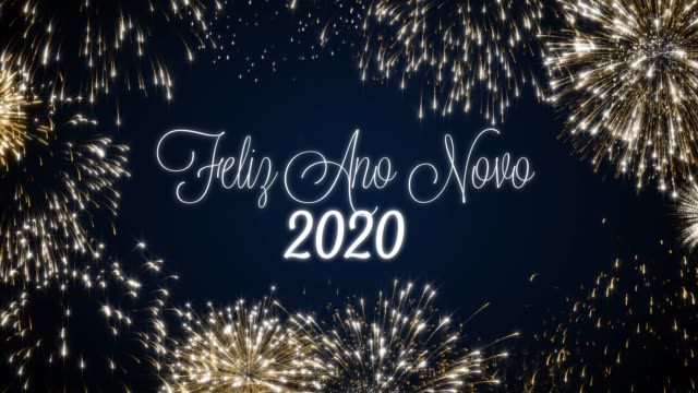 Looping happy new year 2020 social post card with gold animated fireworks on elegant black and blue background.Loop Celebration portuguese language concept.Loopable animation for festive holiday event Looping happy new year 2020 social post card with gold animated fireworks on elegant black and blue background.Loop Celebration portuguese language concept. Loopable animation for festive holiday event. pyrotechnic effects stock videos & royalty-free footage