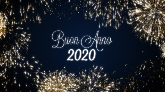 Looping happy new year 2020 social post card with gold animated fireworks on elegant black and blue background.Loop Celebration italian language concept. Loopable animation for festive holiday event Looping happy new year 2020 social post card with gold animated fireworks on elegant black and blue background.Loop Celebration italian language concept. Loopable animation for festive holiday event. pyrotechnic effects stock videos & royalty-free footage