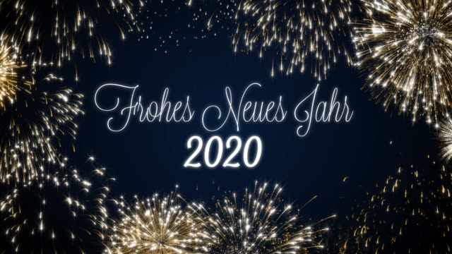 Looping happy new year 2020 social post card with gold animated fireworks on elegant black and blue background.Loop Celebration german language concept. Loopable animation for festive holiday event Looping happy new year 2020 social post card with gold animated fireworks on elegant black and blue background.Loop Celebration english language concept. Loopable animation for festive holiday event. pyrotechnic effects stock videos & royalty-free footage