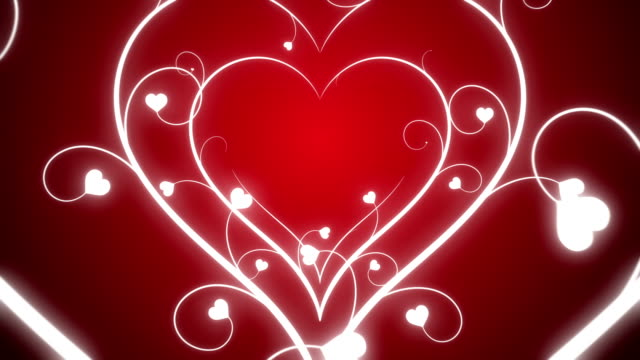 Looping Hearts Grow Background Red video