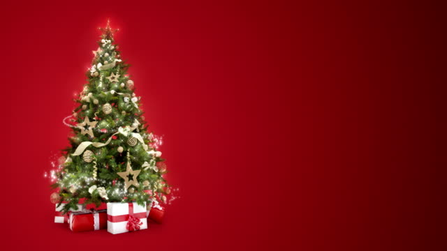 Looping lights decorated xmas tree with gift boxes and magic lights on red background with text space to place logo or copy. Animated abstract Christmas present greeting post card. 4k loop video video