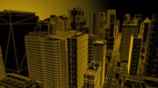 Looping Orange Wireframe City – durchfliegen – Video