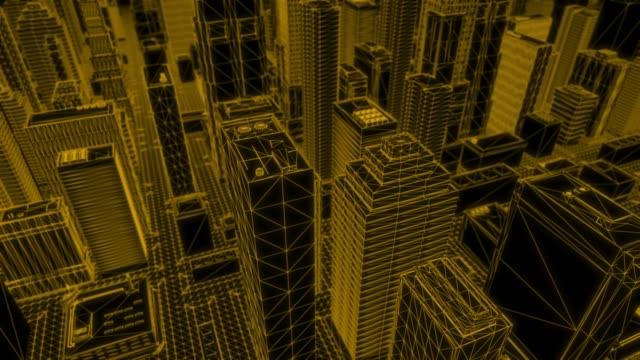 Looping Orange Wireframe City – Blick nach unten – Video