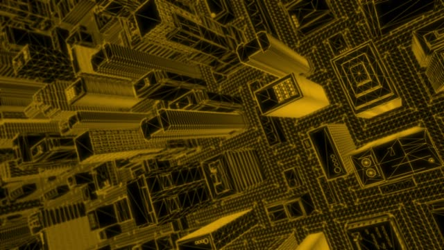 Looping Orange Wireframe City – Spinning Top Shot – Video