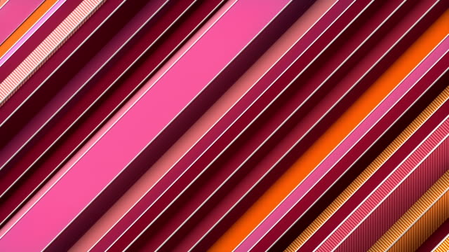 Looping pattern of move pink colored diagonal lines. Modern animation, with white wire on the edges. Computer generated digital motion graphics background. 3D rendering. 4K, Ultra HD resolution.