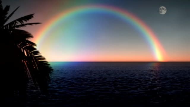 Looping Rainbow Tropical Ocean Palms Full Moon Sunset video
