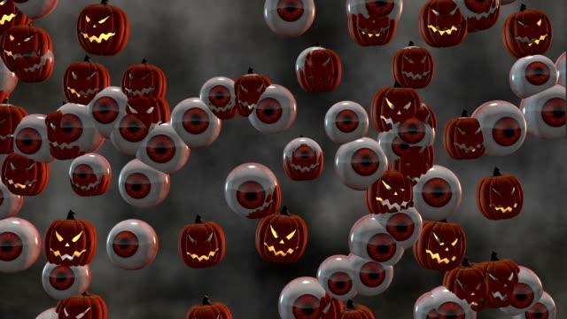 Looping Scary Halloween Jack-o'-Lanterns and Eyeballs Morph video