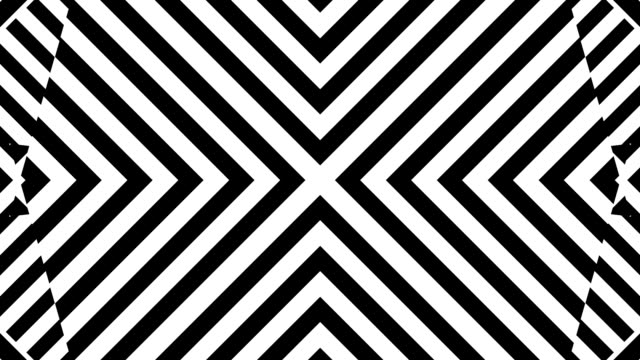Looping squares morphing and rotating into diamonds and black and white stripes video