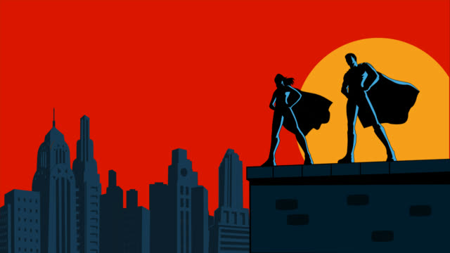 vídeos de stock e filmes b-roll de looping superhero couple with blowing cape in a city animation - super hero