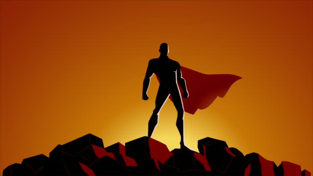 Looping Superhero Silhouette with Waving Cape Animation Video