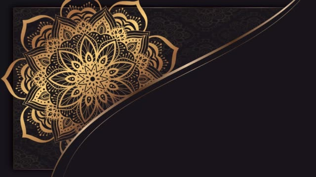 Looping symmetrical mandala abstract gold motion design on black background