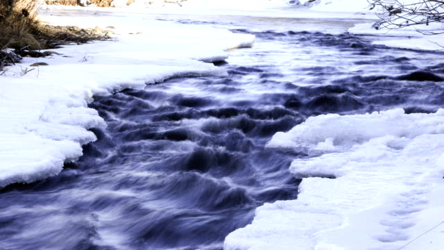 Looping time lapse clip of icy river in the snowy winter video