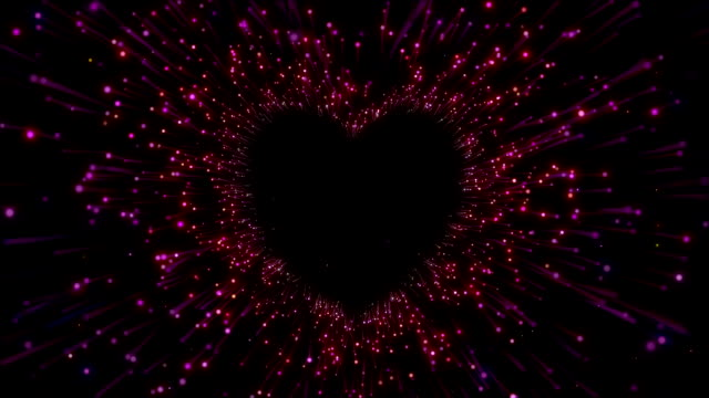 looping tunnel of heart beat made of particles in space - cuore video stock e b–roll