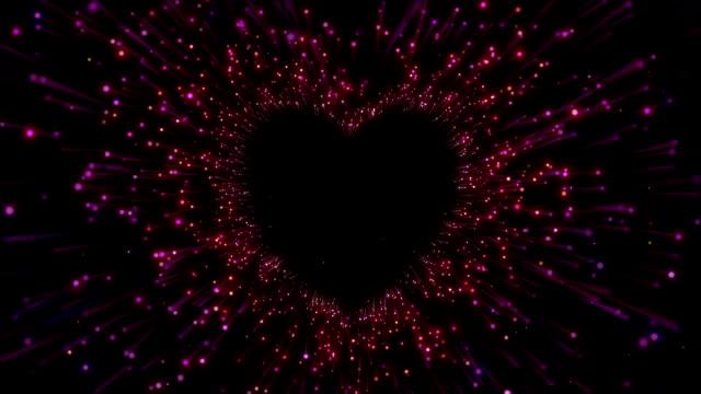 vídeos y material grabado en eventos de stock de túnel de heart beat de colocación hecha de partículas en el espacio - heart