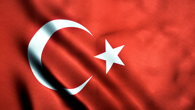 looping Turkish flag with texture and shine video