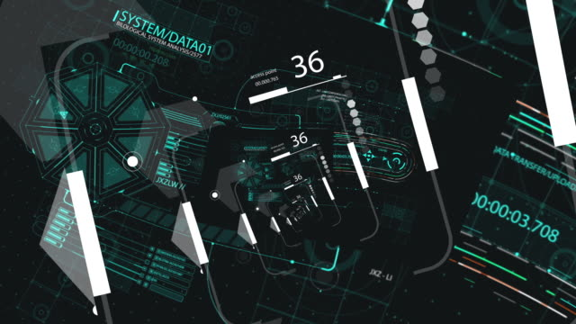 HUD looping zoom in.Flying through Futuristic technological interface. HUD looping zoom in.Flying through Futuristic technological interface. grooved stock videos & royalty-free footage