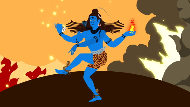 Lord Shiva Standing in a Middle of a Firestorm with Holy Symbols video