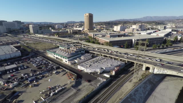 Los Angeles 101 Freeway Aerial Downtown Day video