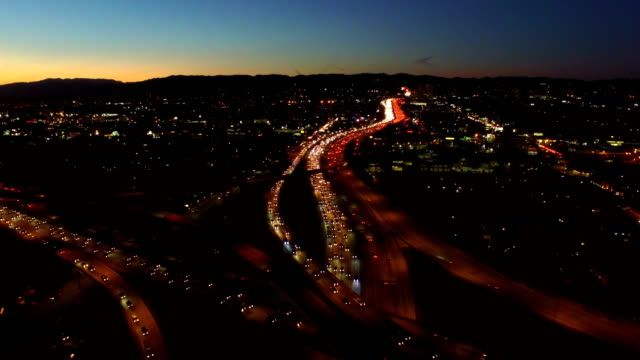 Los Angeles Aerial Freeway Interchange Dusk video