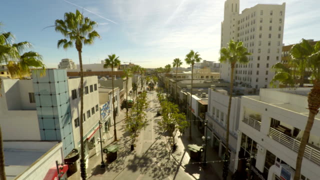 Los Angeles Aerial Santa Monica Third Street Promenade video