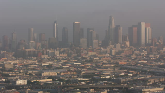 los angeles, aerial shot of los angeles in early morning clouds. - smog video stock e b–roll