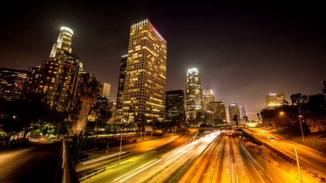 time lapse: los angeles at night - time lapse stock videos & royalty-free footage