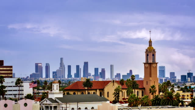 Los Angeles business district from hollywood video