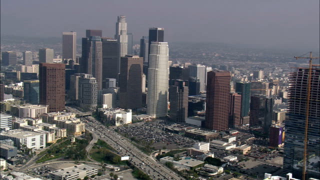Los Angeles City From the South  - Aerial View - California,  Los Angeles County,  United States video