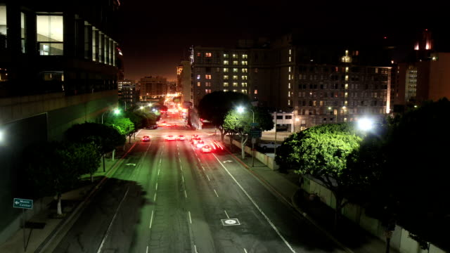 Los Angeles downtown streets at night video