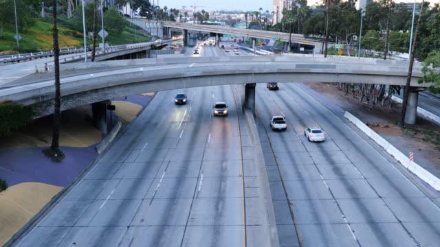 Los Angeles freeway deserted during coronavirus quarantine