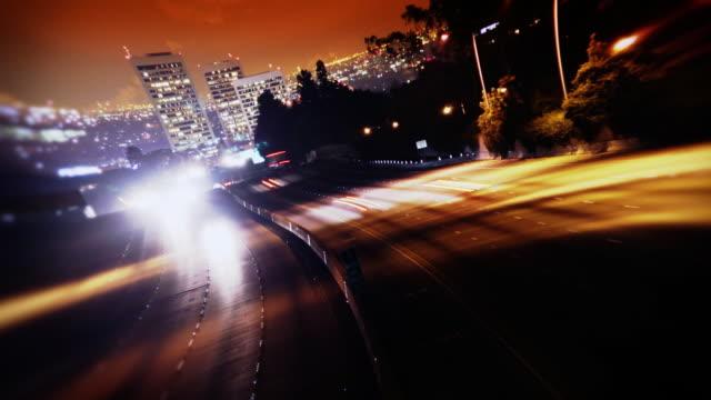 Los Angeles Freeway Traffic at Night video