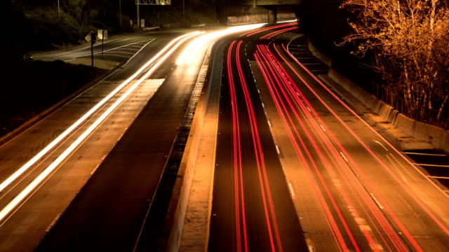 Los Angeles Highway 110 Nighttime Traffic Timelapse video
