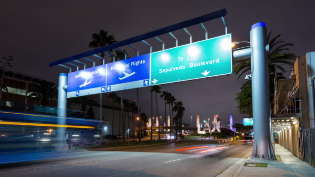 Los Angeles International Airport LAX Entrance Sign Arrival Departure Timelapse video