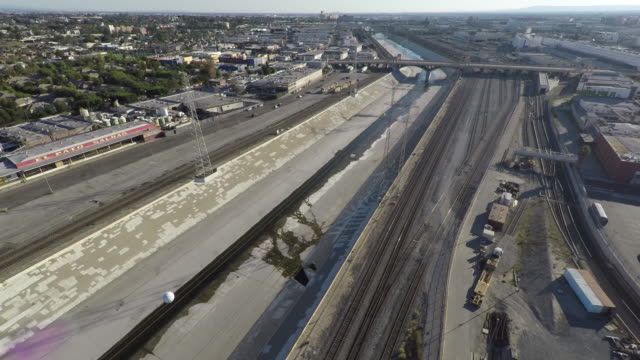 Los Angeles River Day Aerial Los Angeles River Day Aerial east stock videos & royalty-free footage