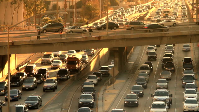 Los Angeles Rush Hour with Overpass Traffic
