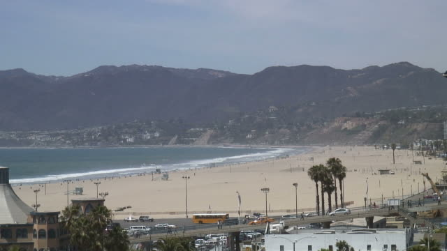 (HD1080i) Los Angeles: Santa Monica Beachscape with Pier Traffic video