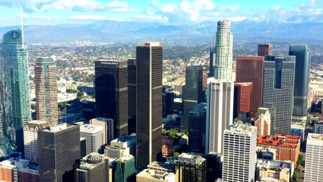 Los Angeles Skyline Aerial The Los Angeles, California Skyline on a beautiful clear day. north america stock videos & royalty-free footage