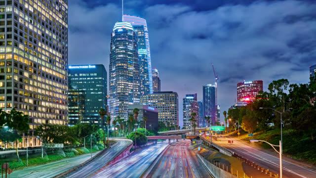 Los Nageles. Travel Destination. Business District. Traffic. Bridge. Time Lapse. Sky.